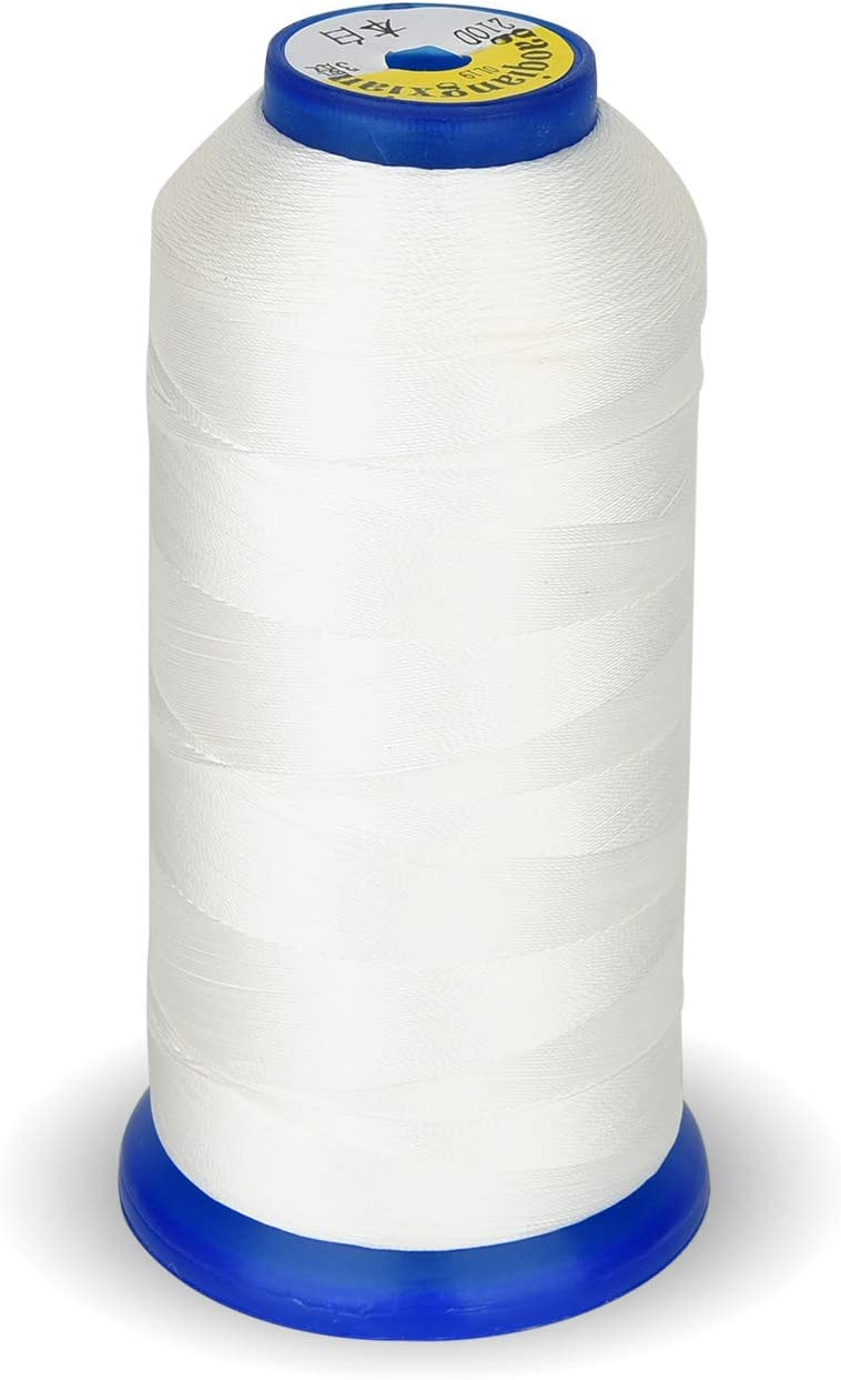 Leather Black Bonded Nylon Thread for Upholstery Jeans and Weaving Hair; Heavy-Duty; #69 T70 Size 210D//3 1400 Yards