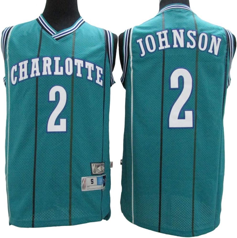 180cm//75~85kg XH-Sport Maillot de Baloncesto Hornets 2# Larry Johnson para Hombre Uniforme de Ventilador Unisex de Tela Transpirable Cool Vintage All-Star,L