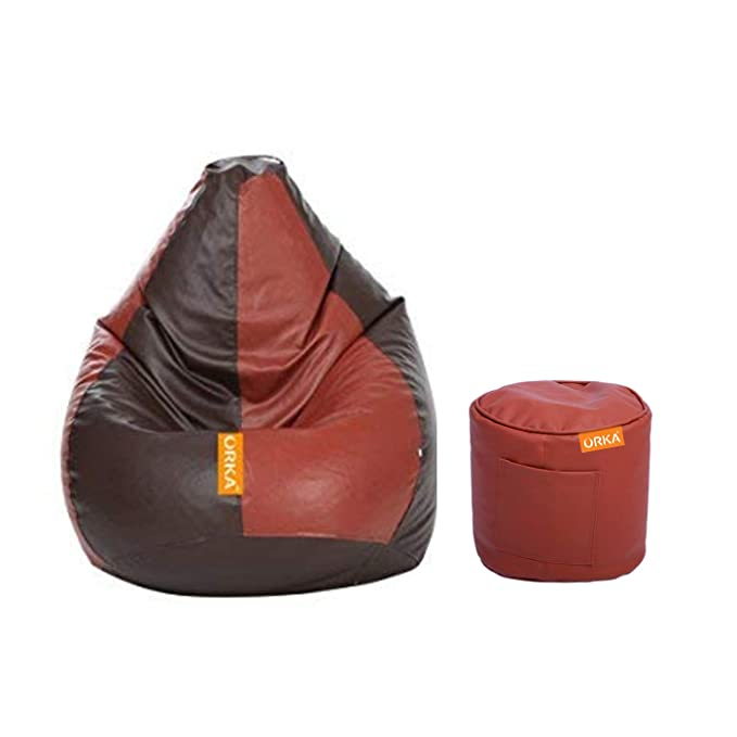 ORKA Classic XXXL with Footstool Bean Bag Cover Without Beans   Brown and Tan Bean Bag Covers