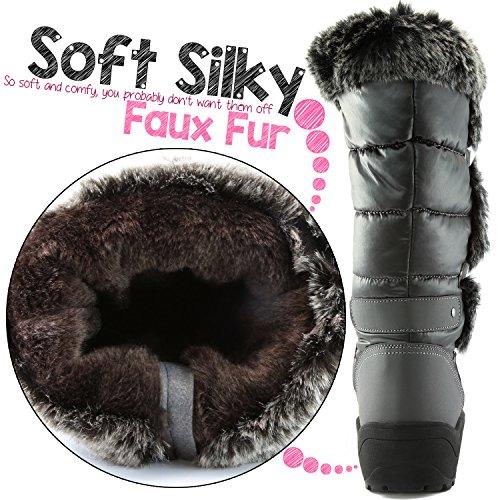 DailyShoes Frauen-Frauen-Knie-Hoch-up Warmes Pelz-Wasser-beständige Eskimostiefel Grau