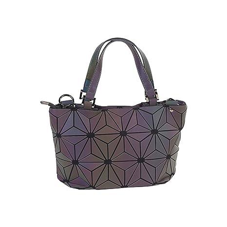 Bolsa de Cubo de Las Mujeres Geometría Lentejuelas Espejo Llanura Bolsas de Hombro Plegables Luminoso PU