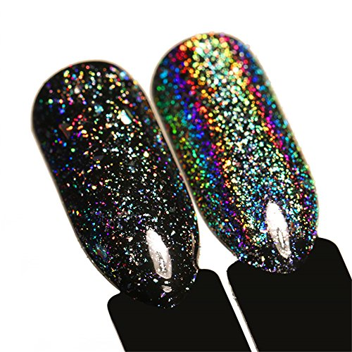BORN PRETTY Galaxy Holo Iridescent Flakies Bling Laser Nail Sequins Holographic Glitter Powder Paillette 0.2g (Glitter Nail Holographic)