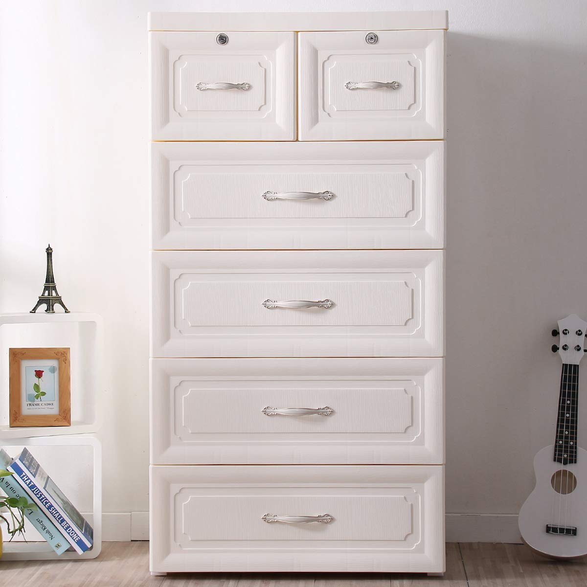 Nafenai 5 Drawer Chest, Plstic Large Storage Dresser Closet Organizer with Removable Wheels, 23.62'' L x 15.75'' W x 44.79'' H - Whole White