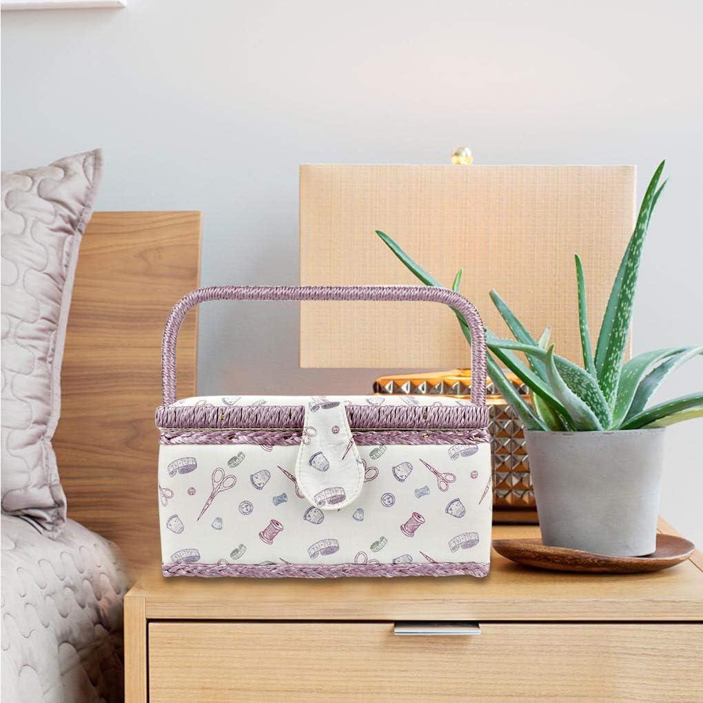 Vintage Sewing Basket Printing Sewing Tools Storage Kit Storage Basket Box with Built-in Pin Cushion and Interior Pocket