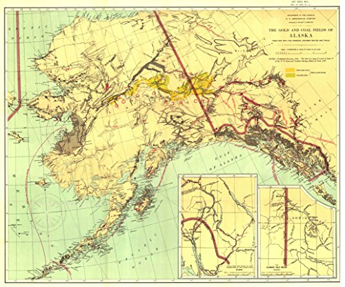 Home Comforts LAMINATED POSTER Map of The Gold and Coal Fields of Alaska 1898 POSTER PRINT 24 X 36 1898 Photo Print