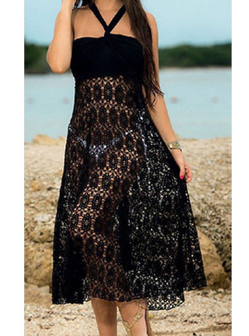 AiSi Damen Spitze Neckholder Strandkleid//Tr/äger Kleid//Sommer /Überwurf Kaftan//Bikini Cover Up//Strandponcho transparent durchsichtig T/üll schwarz wei/ß