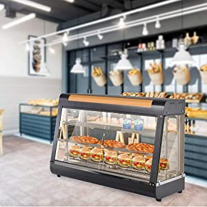 35''Commercial Food Warmer,110V pizza Display Case,Display Hot Food Countertop Case 3 Tier,For Buffet Restaurant Pizza Hamburger Pastry Warmer Show (black, 37x35x20 inch)