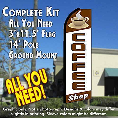 COFFEE SHOP (Cup) Flutter Feather Banner Flag Kit (Flag, Pole, & Ground Mt) by Vista Flags