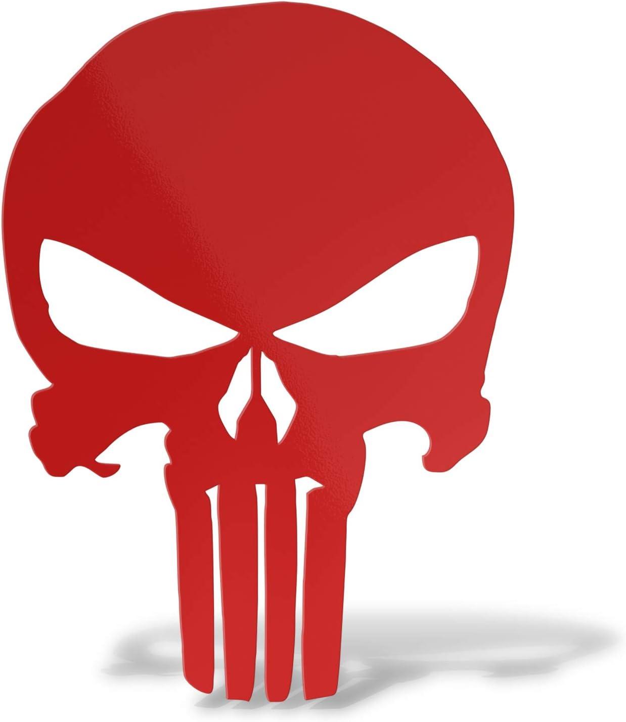 Erreinge Aufkleber Prespaced Red 12cm Punisher Schädel Schädel Aufkleber Aufkleber Wandvinyl Aufkleber Laptop Auto Moto Helm Camper Baumarkt
