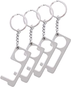 4 Pack No Touch Keychain Tool, Contact Free Door Opener, Button Pusher Tool, Keychain, and Contactless Multipurpose Tool for Home Outdoor by Kenneth Products.