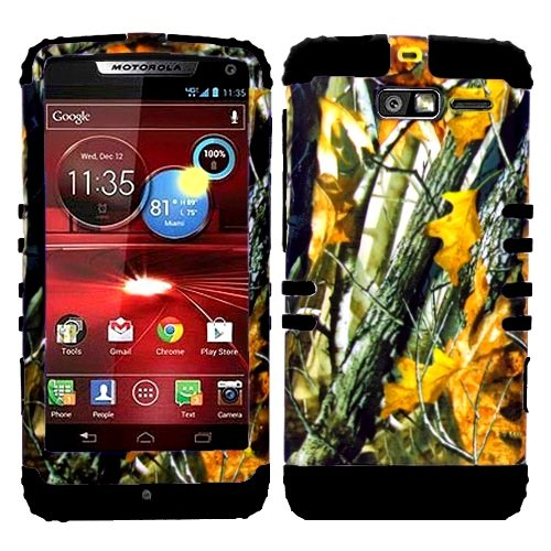 CellPhone Trendz Hybrid 2 in 1 Case Hard Cover Faceplate Skin Black Silicone and Camo Mossy Hunter Oak Big Branch Snap Protector for Motorola DROID RAZR M (XT907, 4G LTE, - Faceplates Motorola Hunter