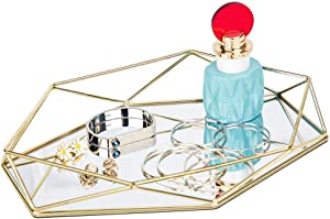 FLY SPRAY Ornate Tray Makeup Jewelry Organizer Metal Brass Mirrored Glass Tray Luxury Gold Hexagonal Desktop Simple Style Cosmetic Jewelry Box Vanity Home Décor, Perfume Plate Wedding Gifts