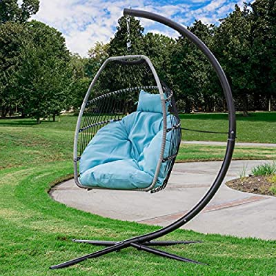 Barton Premium X-Large Patio Hanging Chair Swing Egg Chair UV Resistant Soft Deep Cushion Relaxing Basket Style Chair - ★ Ideal for Deck, balcony & more - Unique swinging Chair is the perfect addition to any space outside, like a backyard patio, deck, in a sun-room or garden, or near a pool, or outdoor bar ★ User Indoor or Outdoors - It is sturdy & safe for you to sit in, and it will be a great addition to your indoor or outdoor furniture ★ Premium Fluffy Cushion - It comes with a Soft deep fluffy cushion, perfect for you to snuggle in on a warm and sunny day, with a book and a cold coffee - patio-furniture, patio-chairs, patio - 61oSp58r8sL. SS400  -