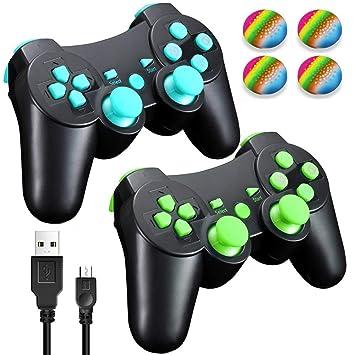 Vniqloo 2 x Mandos Inalámbrico Bluetooth Controller Doble Vibración para Sony PS3 Playstation 3 con Funciones