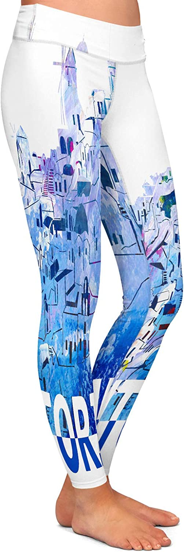 Santorini Scissor Blue Athletic Yoga Leggings from DiaNoche Designs by Markus Bleichner