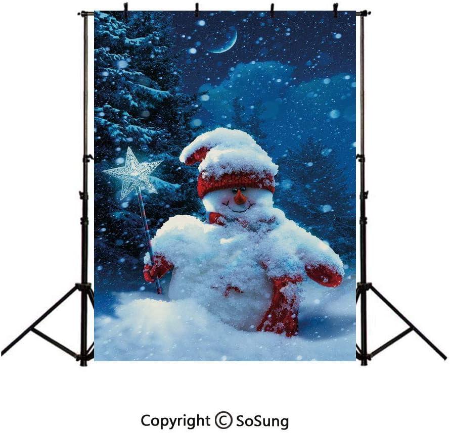 Fondo de Vinilo de Navidad para fotografía, muñeco de Nieve y búhos en el día de Invierno nevado con cascabeles y Copos de Nieve: Amazon.es: Electrónica