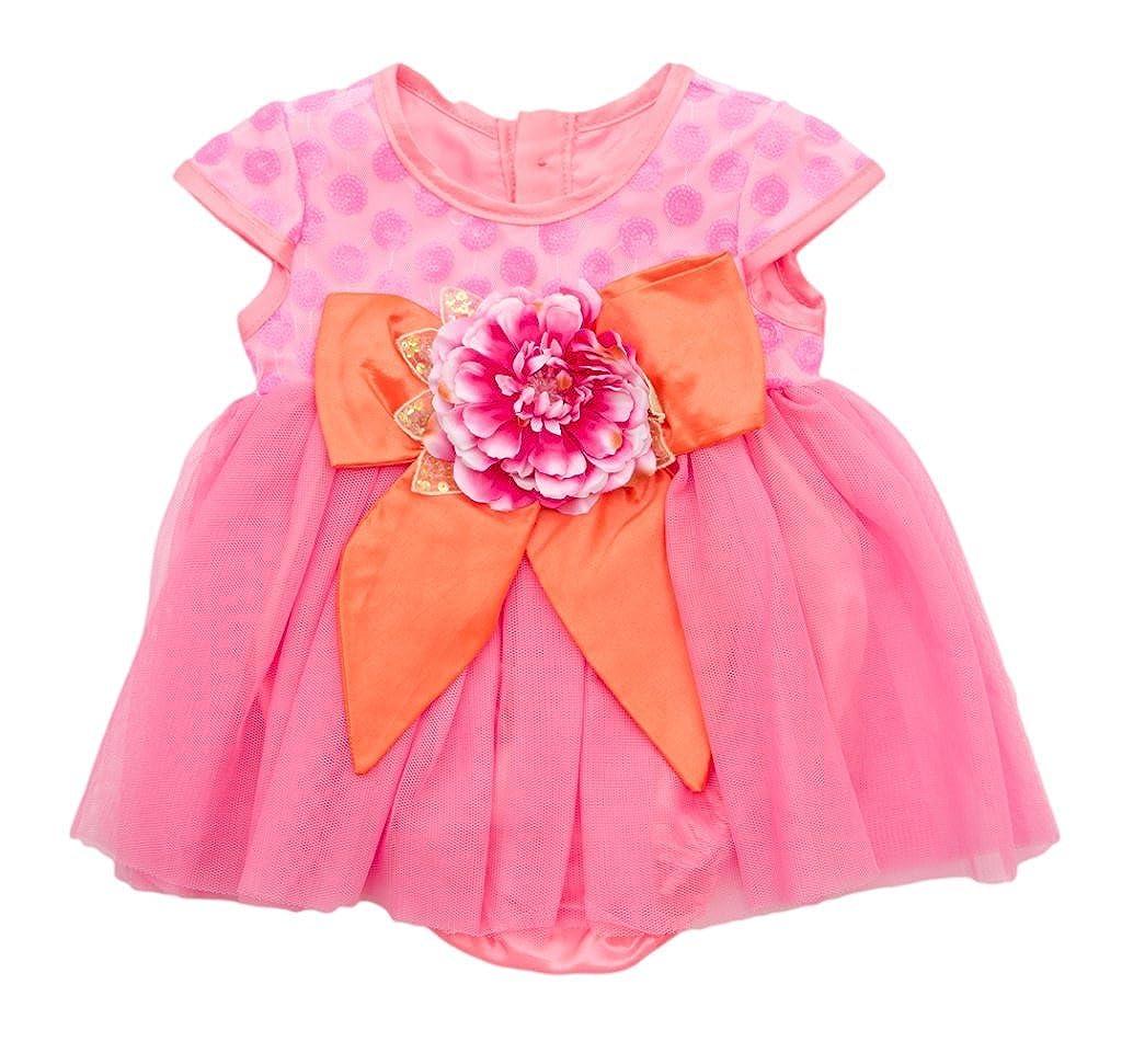 Haute Baby Orange and Pink Dress-24M