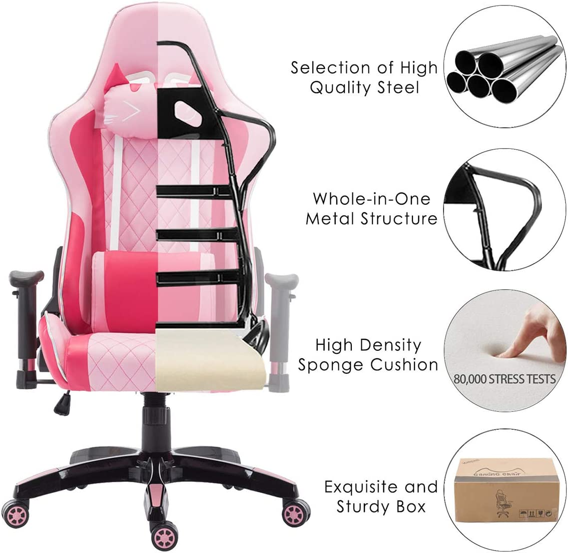 Chairus Pink Gaming Chair Racing Computer Desk Game Chair Ergonomic Backrest Reclining Office Chair with Lumbar Pillow and Cute Kitty Headrest