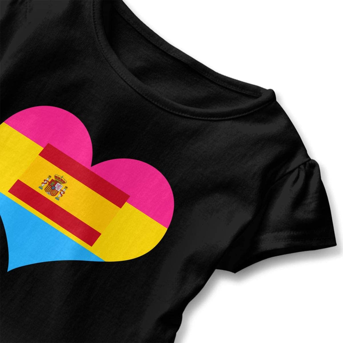 GNKTGBO2O Baby Girls Pansexual Heart Spain Flag 100/% Cotton T Shirts Short Sleeve Ruffle Tee Basic Tops