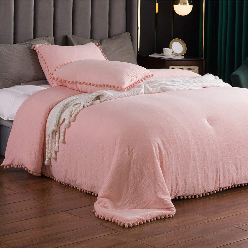 SexyTown Pink Pompom Fringe King Comforter Set,Super Fluffy Soft Boho Chic Bed Comforter