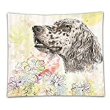 Beshowereb Fleece Throw Blanket Dog Cute English Setter Hand Drawn Furry Puppy Small Pet Cartoon Pattern Chrysanthemum Floral Backgrou
