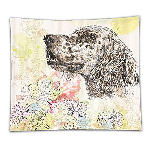 Beshowereb Fleece Throw Blanket Dog Cute English Setter Hand Drawn Furry Puppy Small Pet Cartoon Pattern Chrysanthemum Floral Backgrou by Beshowereb