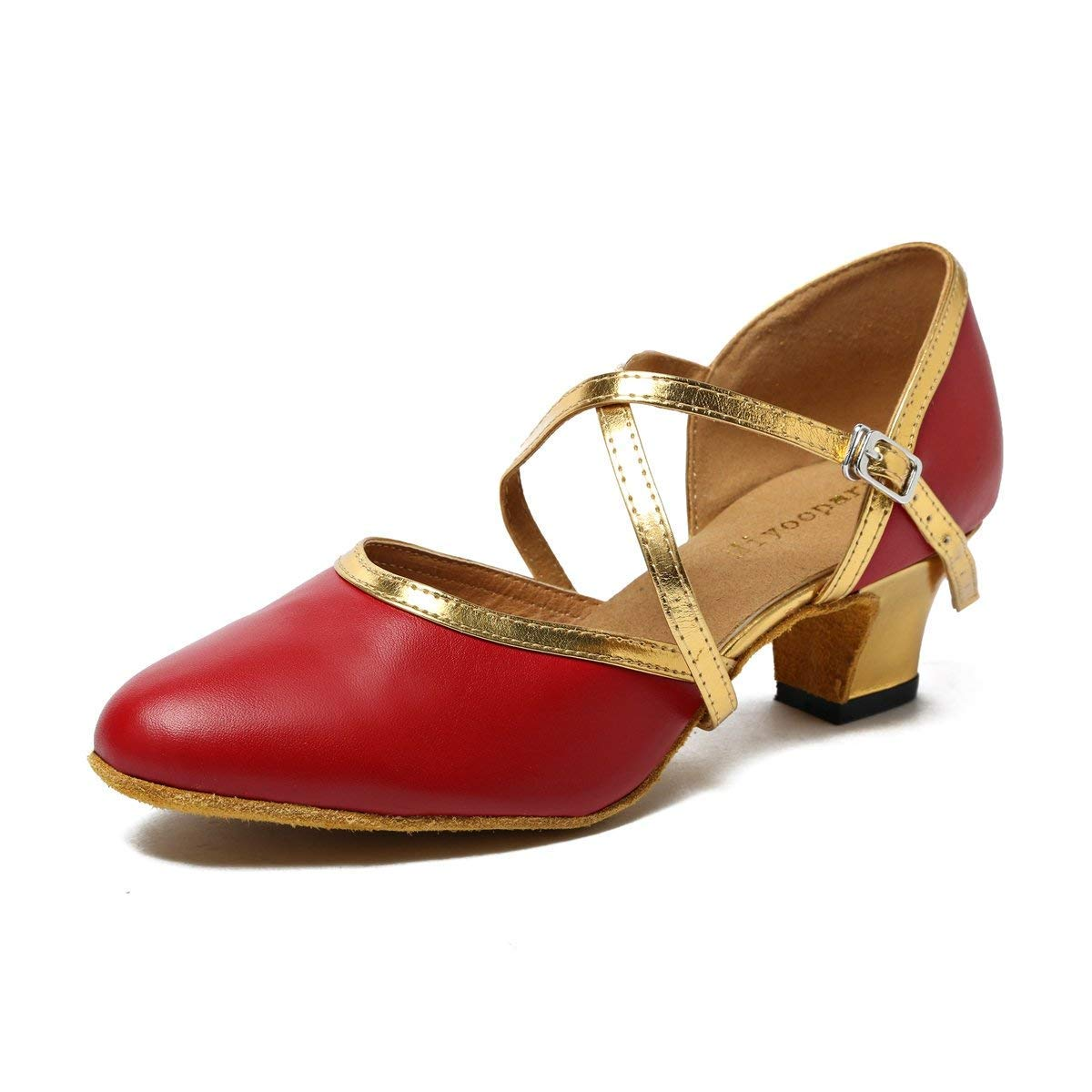 ZHRUI Damen Tanzschuhe (Farbe   Burgundy Gold-5cm Heel Größe   8 UK)