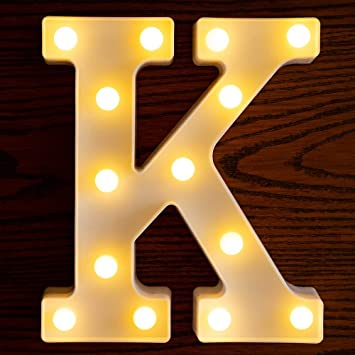 Yorulory LED Letter Lights Sign Letters Light Up Letters Sign for Night Light Wedding Birthday Party Battery Powered Christmas Lamp Home Bar (K)