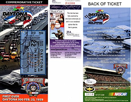 Daytona 500 Tickets (Dale Earnhardt Sr. Signed - Autographed Daytona 500 40th Annual/ Nascar 50th Anniversary 4 x 8.5 Inch Commemorative Ticket - Deceased 2001 - JSA Certificate of Authenticity)