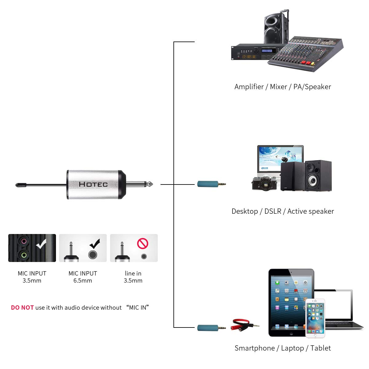 Hotec UHF Wireless Headset Microphone/Lavalier Lapel Mic with Bodypack Transmitter and Mini Rechargeable Receiver 1/4'' Output, For Live Performances, Support Phone by Hotec (Image #4)