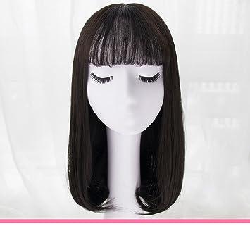 peluca de niña/Aire peluca flequillo pera/cabello largo/Simulación de pelucas naturales