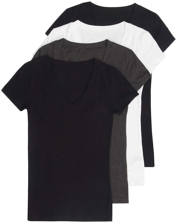 4 Pack Zenana Womens Basic V-Neck T-Shirts