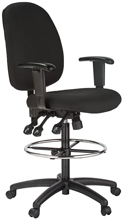 Bon Harwick Extra Tall Ergonomic Drafting Chair, Black Fabric