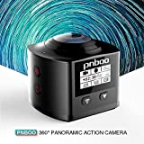 PNBOO PA-10 360° Panoramic Sport Action Camera 3D VR 16MP 4K HD 30fps Waterproof APP WIFI with Rechargeable Battery, Sony IMX179 Sensor(Black)