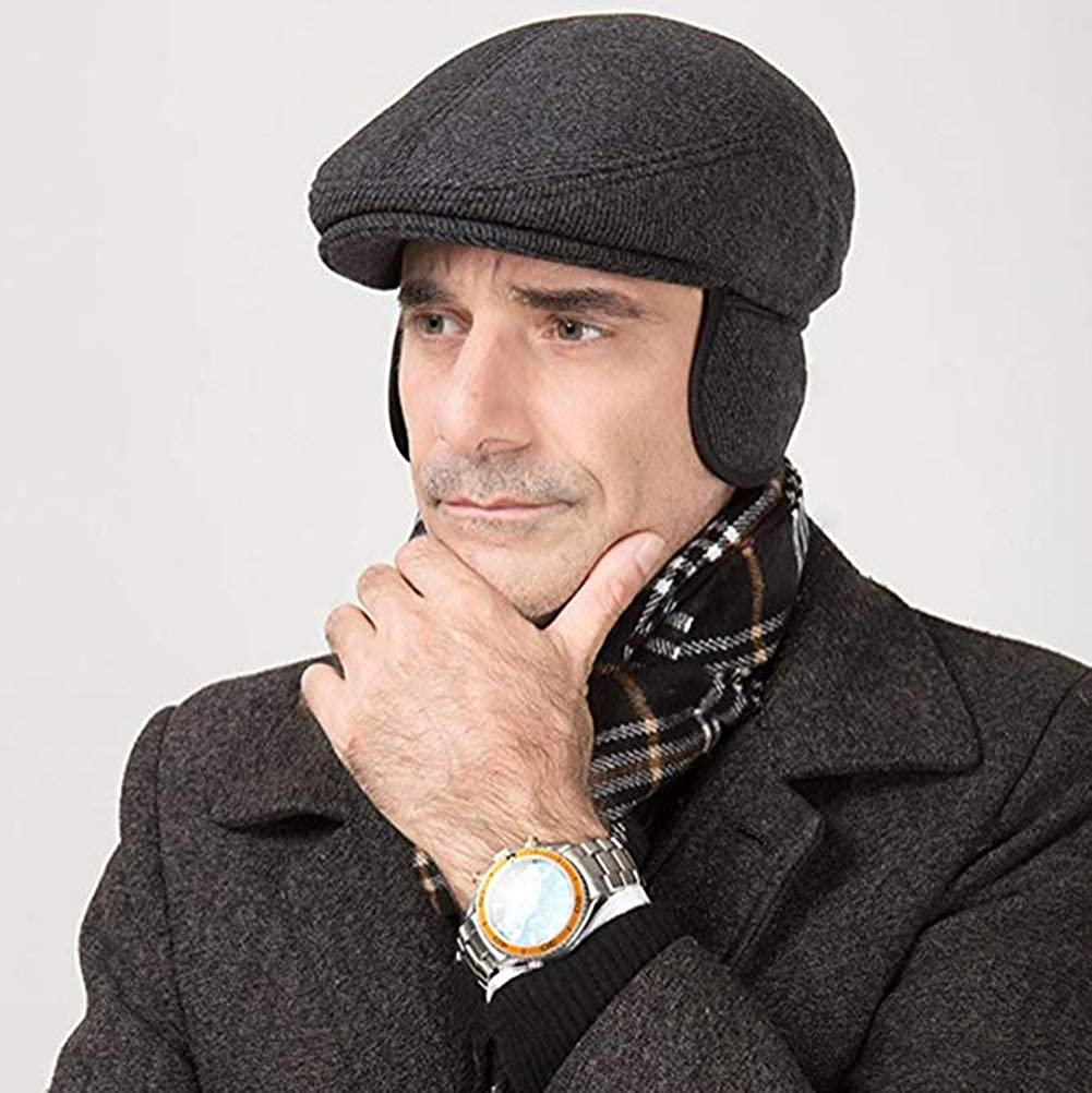 SFGHOUSE Mens Flat Cap Peaked Fall Winter Adjustable Earmuffs Gatsby Driving Newsboy Cap Men Beret Hats