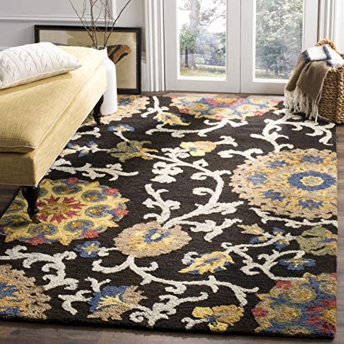Safavieh Blossom Collection BLM401A Handmade Floral Vines Charcoal and Multi Premium Wool Area Rug 8 x 10