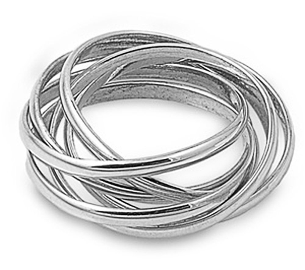Sterling Silver Multi Plain Rings Interlocked Rolling Band Ring 7mm ( Size 5 to 12) Size 5
