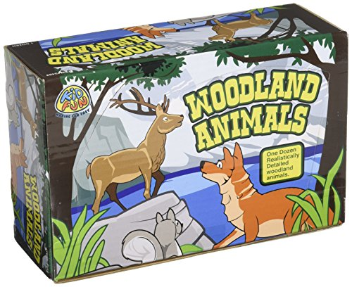 US Toy Woodland Forest Toy Animal Figures Action Figure (1 Dozen) (Plastic Toy Figurine)