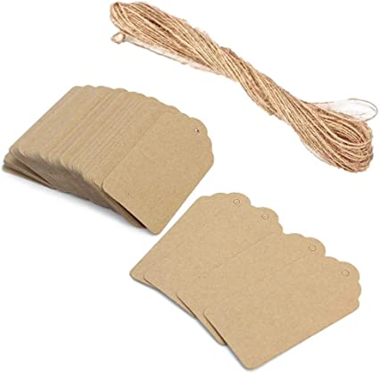 100 Kraft Papier Vierge Carte Cadeau étiquettes Mariage Bomboniere Faveur