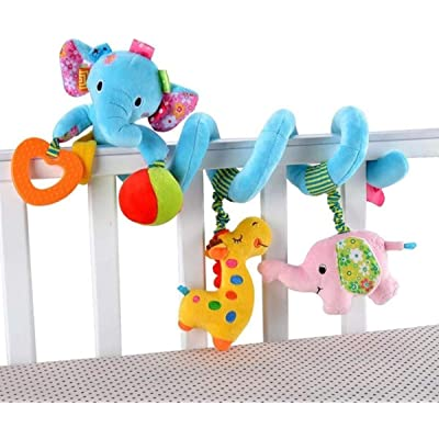 VX-star Baby Pram Crib Ornament Hangings Blue Cute Little Elephant Shape Design Spiral Plush Toys Stroller and Travel Activity Toy: Toys & Games