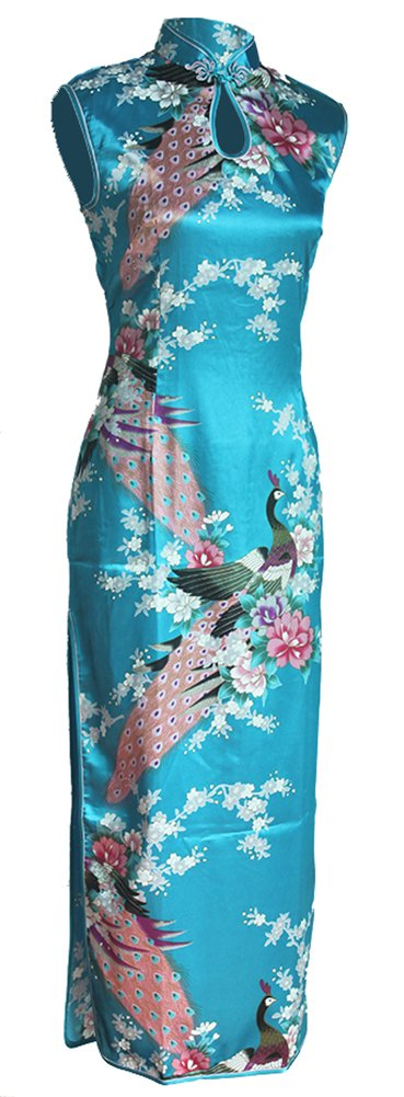 7Fairy Women's Silk Turquoise Keyhole Peacock Long Chinese Dress Size 10 US