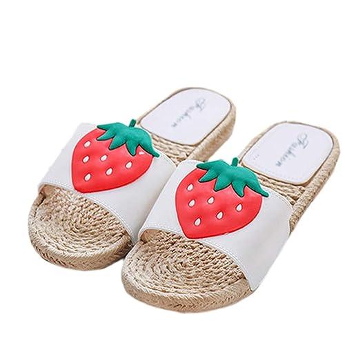 AMINSHAP Zapatillas Verano Femenino Modelos Sandalias Interior Hogar Fruto Patrón Exterior Plano Inferior Arrastrar Inicio Sandalias y Pantuflas: Amazon.es: ...