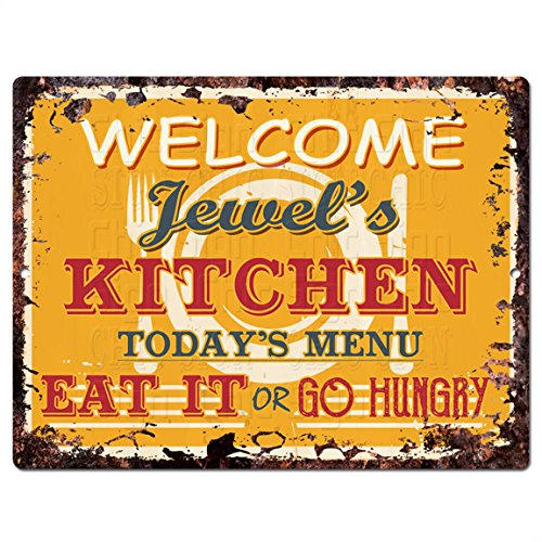 (Welcome Jewel'S Kitchen Chic Tin Sign Vintage Style Retro Rustic 9