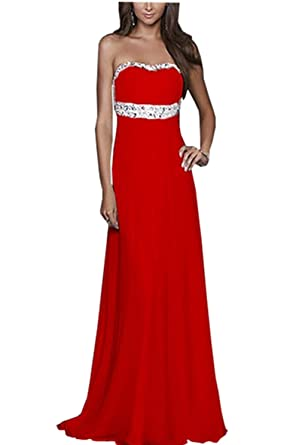 Women Strapless Beading Evening Party Formal Gowns Long Prom Dress (L (US 8-