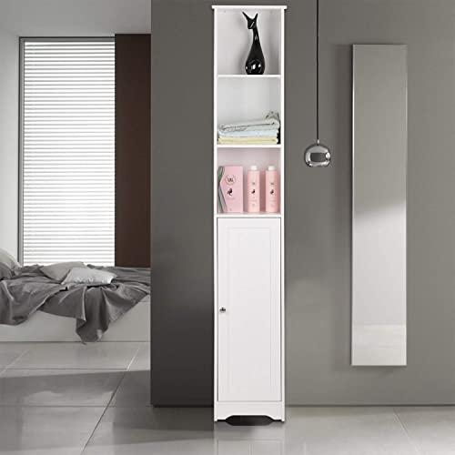 Bonnlo 67 Tall Cabinet, Free Standing Bathroom Storage Cabinet Tower with 5 Adjustable Shelves Cupboard Space Saving Organizer White
