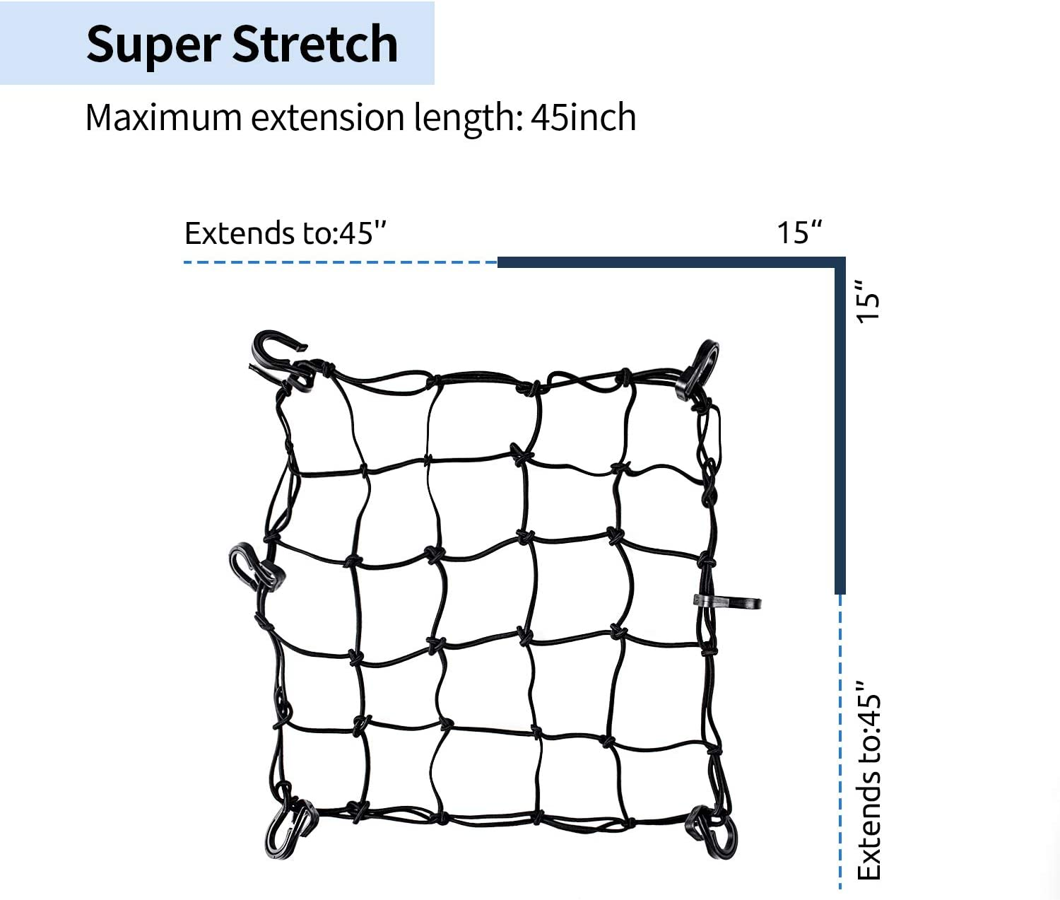 "SunFounder Super Strong Stretch Heavy-duty 15/"" Cargo Net for Motorcycle ATV ..."