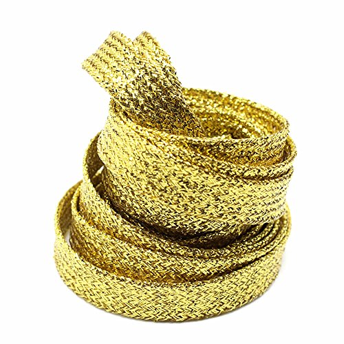 (GOOTRADES Metallic Glitter Flat Shoelaces for Canvas Sneaker Athletic 45 inch (2 pairs) (Gold))