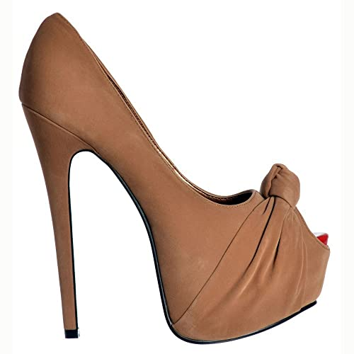 d616175c2b2b Onlineshoe Women s Peep Toe Stiletto Concealed Platform High Heel Shoes -  Brown Knotted Suede UK 6