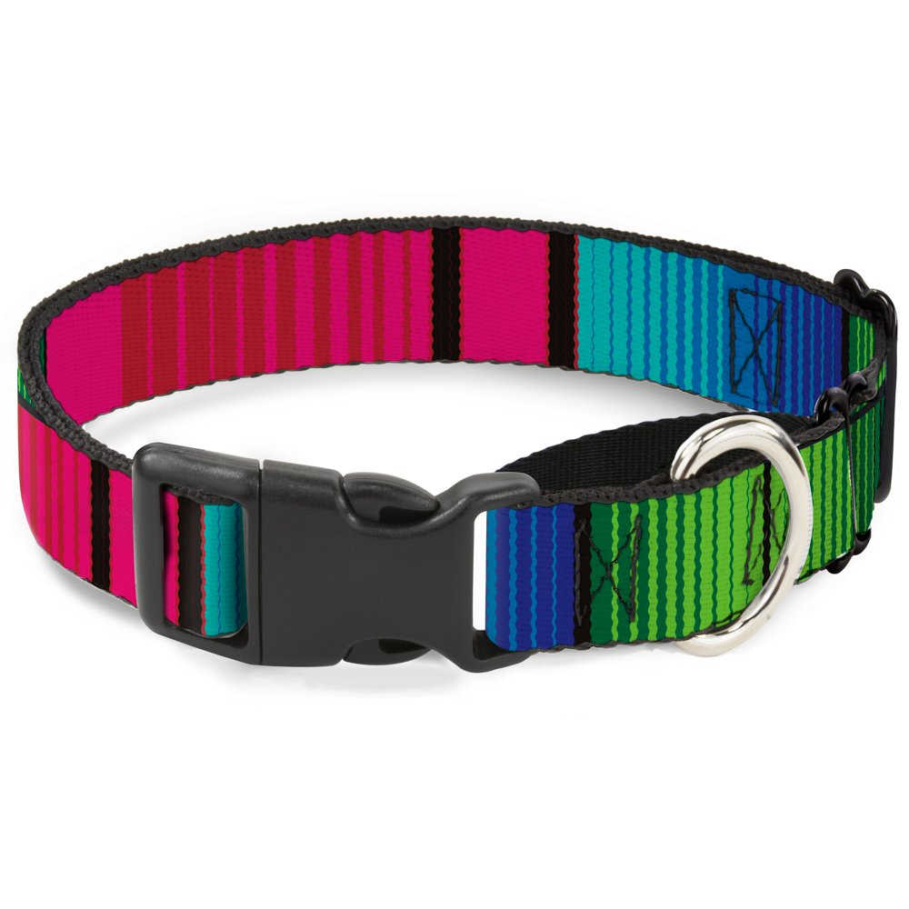 Buckle-Down MGC-W32634-L Zarape7 greenical Pinks bluees Greens Black Martingale Dog Collar, Large