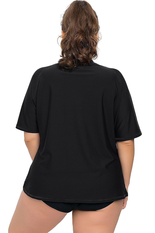 Rash Guard Swim Shirt Sociala Womens Plus Size Short Sleeve Rashguard UPF 50